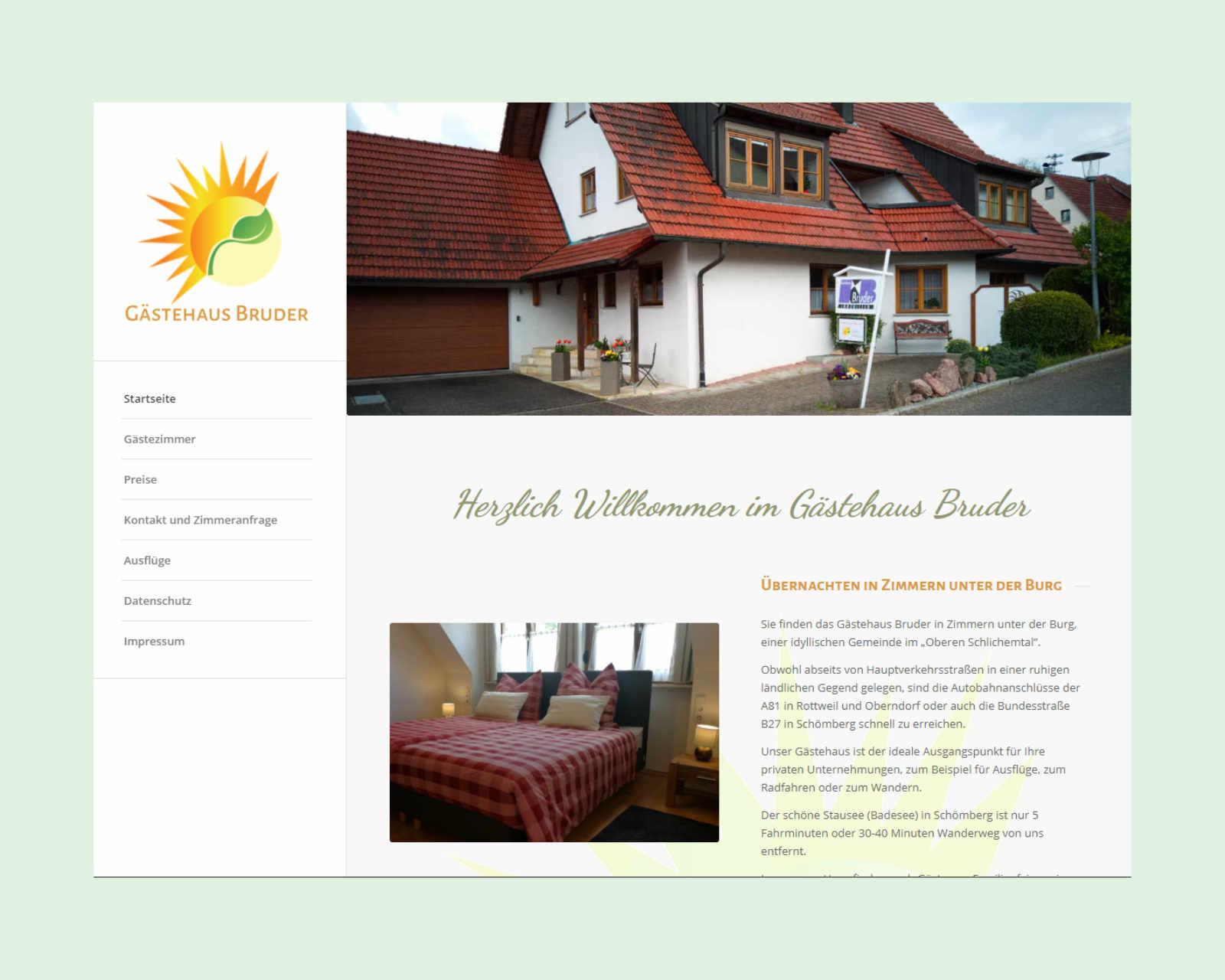Website www.gaestehaus-bruder.de